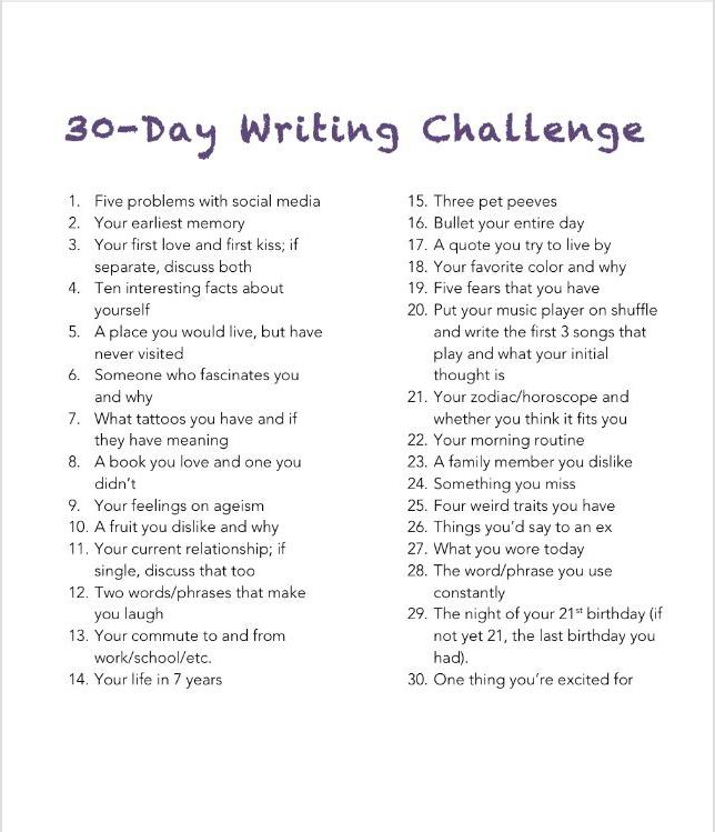30 Day Writing Challenge - Writers Circle