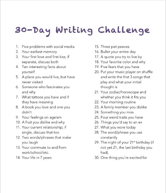 30 Day Writing Challenge - Writers Circle
